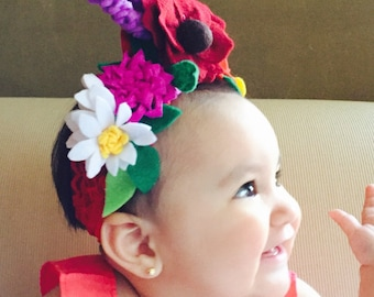 For all ages: Authentic Frida Kahlo / Catrina/Mexico flower headband. Day of the dead hair piece.