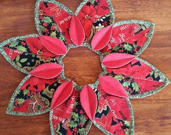Handmade Folded Leaf Wreath Candle Mat Centerpiece Christmas Table Topper Poinsettia