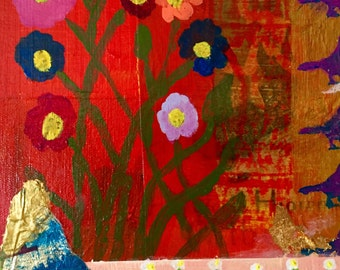 """Original Mixed Media Painting on Canvas in vibrant orange, blue, yellow, red, gold 14""""X18"""""""