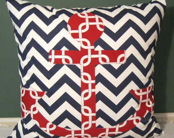 red white blue anchor pillow cover 24 X 24
