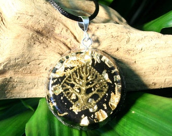 BLACK TOURMALINE Orgone Pendant - Tree of Life - Root Chakra Healing - Unisex Mens/Womens Orgone Pendant - Medium
