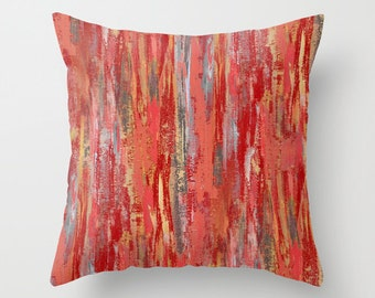 Abstract Throw Pillow Cover Coral Mustard Red Grey  Modern Home Decor Living room bedroom accessories Cushion Decorative Pillow Cover