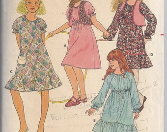 Butterick 6256 Sewing Pattern from the 70's. Girls' Dress and Vest  Chest 26-28 1/2   Boho, Hippie, Peasant style  UNCUT