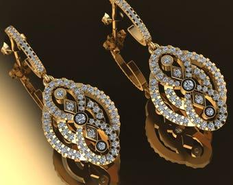 14K Rose Gold Earring with White Diamonds    M-ER1003
