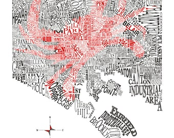 Baltimore Neighborhood Map with Crab 11x14in print