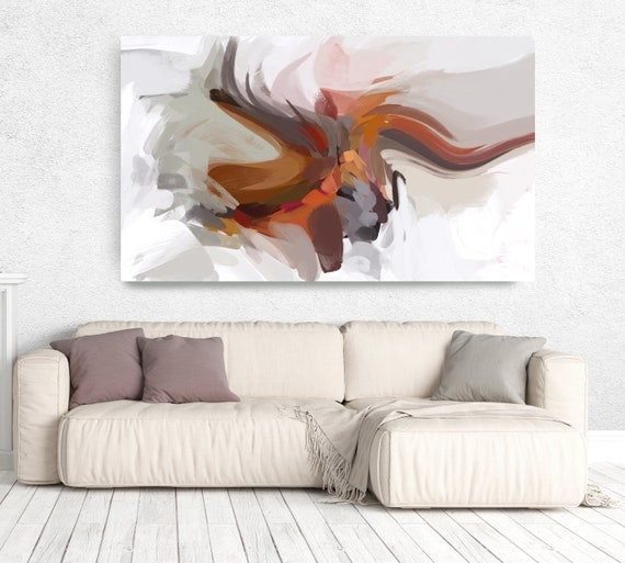 """The Color Movement 9, Minimalist Abstract Painting Canvas Art Print Original Abstract Art Orange Brown White up to 80"""" by Irena Orlov"""