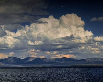 Billowing Clouds over Yellowstone Lake and Mountains Panorama in the Yellowstone National Park in Wyoming No. 6954 - A Landscape Photograph