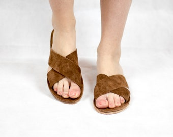 Cross sandals, suede leather slides, handmade sandals, brown color