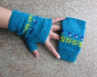 Fingerless Gloves Hand Knitted Women's Half Finger Gloves Arm Warmers Knit Gloves Turquoise Mittens Gloves Wrist Warmers Knit Accessories