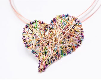 Rainbow heart necklace, cute, colorful, wire heart necklace, heart pendant, modern hippie, art handmade jewelry, Summer birthday gift her