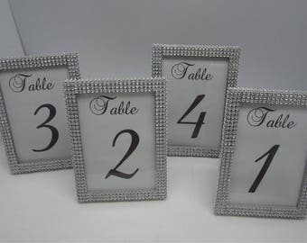 5 x 7 Set of (24) Frames in Silver Rhinestone - Wedding or Special Event. Table #'s not included