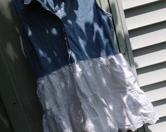 Denim Dress, Refashioned Shirt Dress, Denim Grunge Dress, Upcycled Vest Dress, Eco Conscious Fashion
