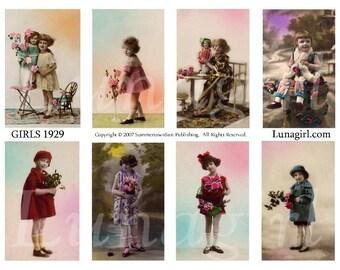 GIRLS 1929 digital collage sheet, vintage photos children flappers 1920s dresses French tinted postcards altered art ephemera cards DOWNLOAD