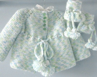 Baby Jacket Set Knitted Baby Cardigan Baby Booties Crochet Baby Sweater Crochet Baby Shoes Knitted Baby Coat Crochet Baby Outfit Baby Gift