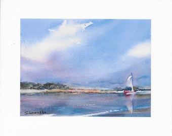 Sailboat Seascape Print, Giclee Print Signed, Small Watercolor Painting, Nautical Decor, Coastal Art, Ocean Painting, Watercolor Print