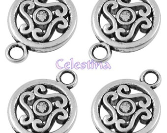 20 Tibetan Silver Connector Links - Charms Links 14mm LF NF CF - Swirl Pattern - TS372