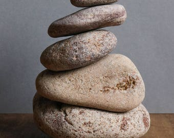 Wabi-Sabi Home - Zen Balance Stones - Meditation Altar - Stress Relief Gift - Stacking Stone Cairn - Pottery Bowl