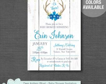 Deer Antlers Baby Shower Invitation Printable Blue, Boy, Navy, Baby Shower Invite, Oh Deer, Wood, 3D