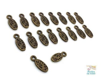 20 bronze oval charms 6x15mm (bre612) nickel