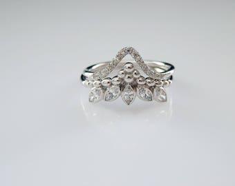 Marquise Crown ring - Engagement Ring Set- Alternative Engagement Ring Set - Bridal Jewlery - Everyday Jewelry Set - Dainty Ring Set