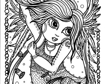 Angel Christmas Instant Download Art Print Holiday Angels To Color Adult Coloring Digital Digi Stamp Heaven Christian Scripture