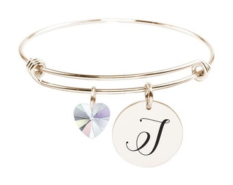 Initial Bangle made with Crystals from Swarovski - I - SWABANGLE-RGD-AB-I - Gold