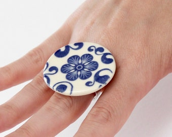 Flower Ring, Boho Jewelry, Cocktail Ring - fashion ring, handmade ring, hippy jewelry, ceramic ring, ceramic jewelry