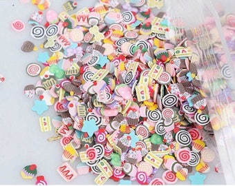 3 GR about 200 confetti in polymer paste shaped cake and cupcake