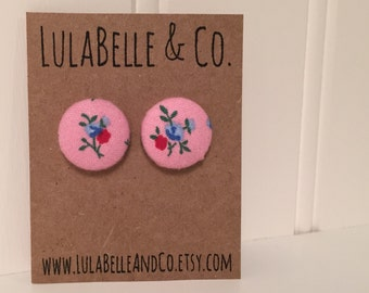 CLEARANCE!  Bubblegum Floral Button Earring