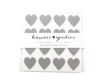 64 Dove Grey heart stickers - 3/4 inch mini grey heart Stickers