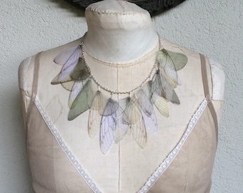 Wings - Ivory, Pale Blue and Pale Green Silk Organza Butterfly Cicada Moth Wings Necklace - Statement Necklace
