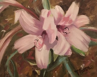 Lillies Original Oil Painting lily lilies flower flowers art for home floral oil painting
