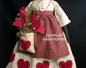 PATTERN  for Primitive black folk art doll, original Valentine creation by Dumplinragamuffin, #203