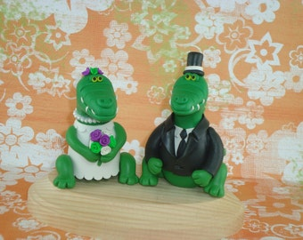 Personalized Alligator Wedding Cake Topper