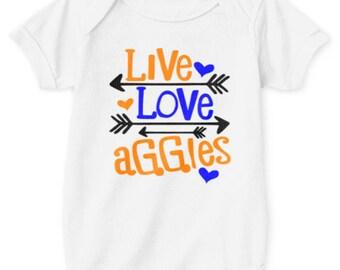 Live Love Aggies Unisex Baby Onsie. NCAT Onsie. Blue and Gold shirt. North Carolina. Aggie Pride. Future Aggie