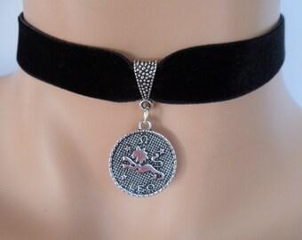 velvet choker, leo choker, leo necklace, stretch ribbon, black velvet, star sign, zodiac charm