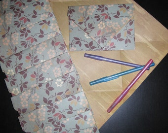 Retro Floral Pattern - 10 Decorative Folded Self-Closing Origami Paper Ephemera Envelopes, Double Thick Double Sided 12x12 Scrapbook Paper