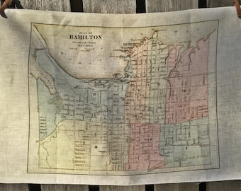City of Hamilton map tea towel - FREE SHIPPING