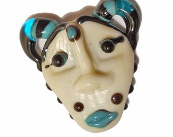 Mask Necklace, handmade Lampwork glass bead, 'Who's That Girl?' ivory colored face pendant, amulet, totem, focal bead, glassbead, SRAJD