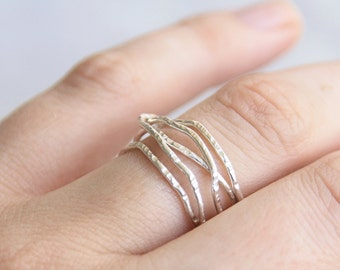 Tangle Statement Ring, Five Band Wrap Ring, Rose Gold Fill, Yellow Gold Fill, Sterling Silver, Handmade Jewelry, Gift for Her, stacking ring