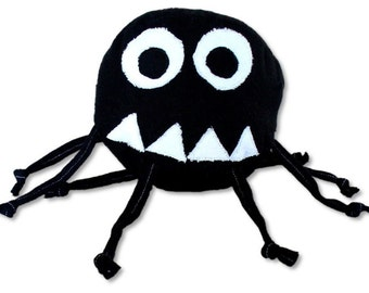 Stuffed Animal Baby Ball Toy - Marvin the Misunderstood Spider - ZadyCreature - black and white