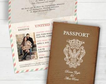 Vintage Passport Boarding Pass Destination Wedding Invitation - Megan Elizabeth Designs