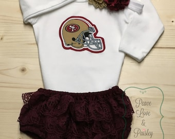 San Francisco 49ers Bodysuit, Lace Ruffle Diaper Cover and Headband Set Made from 49ers Fabric, 49ers Baby, SF Baby