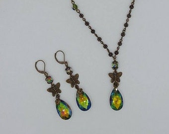 Bronze Volcano Crystal Vintage Feel Necklace and Earring Set