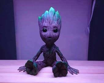 Ends Tomorrow 50% off 3D printed and hand painted Baby Groot.
