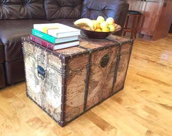 Steamer trunk etsy ancient world map steamer trunk wood storage wooden treasure chest gumiabroncs