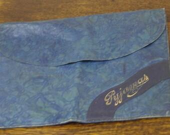 vintage blue leather pyjama case