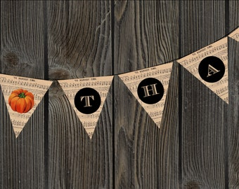 Thanksgiving THANKS Vintage Music Bunting