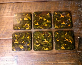Paper Mache Lacquer Coasters Hand Painted Animals Set Of 12