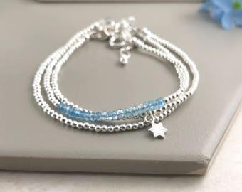 Aquamarine Stacking Bracelet Set - March Birthstone, Dainty, Thin, Sterling Silver Bracelets